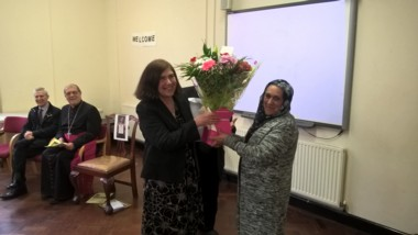 Teresa presented with flowers