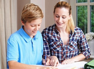 tutor and boy stock photo